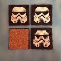 Star Wars coasters: looks easy enough :) Good idea for gifts. Could do all kinds of patterns.