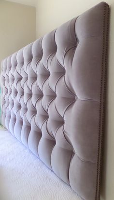 Gray velvet deep tufted king headboard nailhead trim custom wall mounted