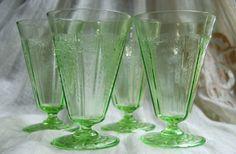 antique glassware patterns   Vintage Vaseline Depression Glass Princess Pattern Tumblers by Hocking ...