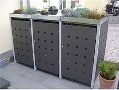Mülltonnenbox Quadra aus Metall 3x 120 Liter mit Schloss…