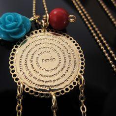 Collar Cadena Padre Nuestro Oro Golfi Cristal Swarovski Coral y Flor en Resina Lindas Joyas de Moda  Accesorios para mujer