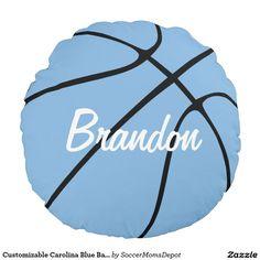 Customizable Carolina Blue Basketball Round Throw Round Pillow! #basketball #tarheels #UNC #boysroom #sports