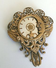 Moon and Watch Part Brooch Watch Part Pin by FromABygoneTime