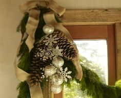 christmas burlap pinecones garland