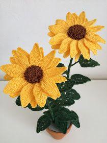 How to crochet a Sunflower Crochet Sunflower, Crochet Cactus, Sunflower Pattern, Crochet Flower Tutorial, Crochet Flower Patterns, Crochet Flowers, Thread Crochet, Crochet Hooks, Knit Crochet