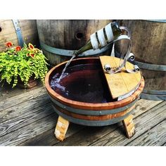 Wine Barrel Diy, Wine Barrel Chairs, Whiskey Barrel Furniture, Wine Barrel Rings, Wine Barrels, Wood Barrel Planters, Wood Barrel Ideas, Winery Tasting Room, Barrel Projects