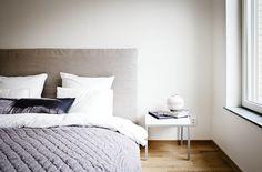 Grey headboard, textured quilt