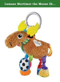 "Lamaze Mortimer the Moose Discovery Baby Toy. Both cuddly and stimulating, with bright colors and sounds Cuddly body, chewy antlers and ""tail"" rings, legs and hooves make sounds Brightly covered hooves chime, squeak, rattle, and crunch when baby grabs or shakes Attached Lamaze link makes this handy as take-along toy."