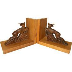 Carved Deer Bookends. Vintage French  VGC.  1950's