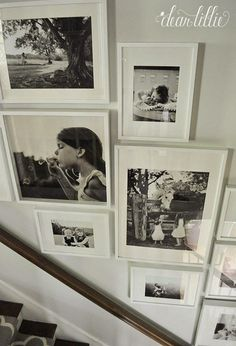 Ikea picture frame wall ideas as soon as i finished painting this hallway a year a half ago which was ikea photo frame wall ideas Ikea Gallery Wall, Stairway Gallery Wall, Stair Gallery, Gallery Wall Frames, Frames On Wall, Gallery Walls, Stairway Photos, Stairway Art, Staircase Pictures