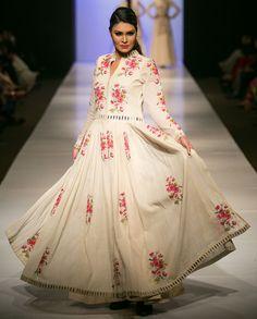 Purvi Doshi Cream Pleated Dress with Palazzo