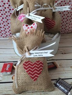 Set of 5 Personalized Burlap Valentine Bags | Jane