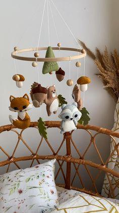 Woodland Mobile, Woodland Nursery Decor, Woodland Animal Nursery, Woodland Animals, Baby Boy Rooms, Baby Boy Nurseries, Forest Baby Rooms, Forest Room, Baby Cribs
