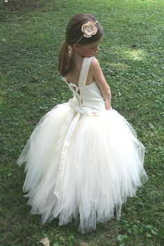 Ivory Flower Girl Tutu Dress w the Original Detachable Train------Many Colors-----Perfect for Weddings---Creme Brulee. $165.00, via Etsy.