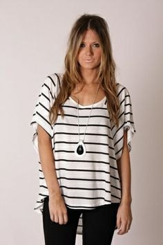I love the striped shirt! It's perfect and long enough to wear with leggings and tan tall uggs! I love the long necklace too! Maybe wear some stacked bracelets! WahLah! -Kath