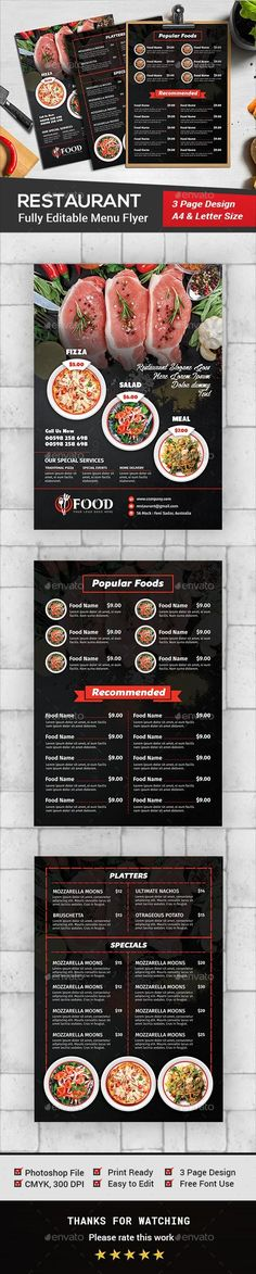 Restaurant Menu Flyer Template is perfectly suitable for promoting your Business. You can also use this template in multipurpose a