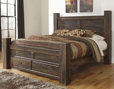 Quinden King Poster Bed with Storage by Signature Design by Ashley
