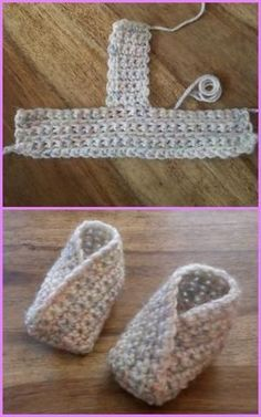 Crochet Baby Booties Crochet Baby Kimono Slipper Booties Free Pattern - Crochet Baby Kimono Slipper Booties Pattern: Crochet Kimono Shoes for babies and adults with one free pattern available Crochet Baby Mittens, Crochet Baby Blanket Beginner, Crochet Socks, Baby Knitting, Diy Crochet, Free Knitting, Quick Crochet, Crochet Ideas, Crochet Baby Stuff
