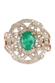 Gorgeous Diamond & Natural Emerald Ring