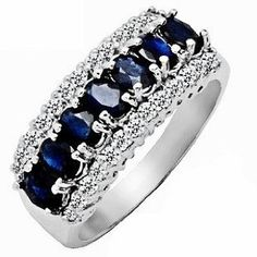 2.15ct Genuine Natural Sapphire Gemstone and Diamond 10k White Gold Ring(Limited Edition) --- http://www.pinterest.com.luvit.in/1jr