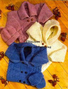 Baby Childs Cardigans Hat & Mittens, 16-24'', Boys Girls Vintage Aran/ 10ply Knitting Pattern, Instant download PDF - 144