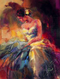 Pintura a óleo sobre tela da pintora russa Anna Razumovskaya
