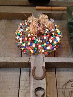 Shot Gun Shell Wreath Christmas Holidays, Christmas Wreaths, Merry Christmas, Christmas Decorations, Christmas Ornaments, Christmas Ideas, Shotgun Shell Crafts, Shotgun Shells, Wreath Crafts