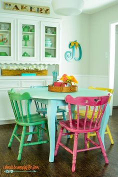 Table and Chairs Makeover with Chalk-Style Paint Table and Chairs Makeover with Chalk-Style Paint Da ReMix Up cycling Table and Chairs Makeover with Chalk-Style Paint Multi-colored nbsp hellip makeover Colorful Kitchen Tables, Painted Kitchen Tables, Painted Chairs, Colorful Chairs, Kitchen Chairs, Painted Furniture, Painted Tables, Modern Furniture, Furniture Design