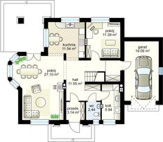 Projekt domu Alabaster bis 146.57 m² - Domowe Klimaty Floor Plans, Floor Plan Drawing, House Floor Plans