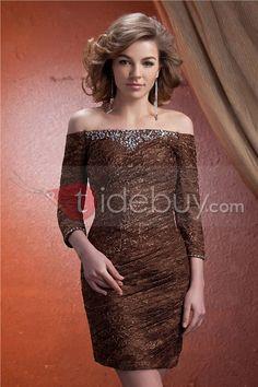 ファッションなドレープ ビーズ飾り スレンダーライン オフショルダー 七分袖 花嫁さんの母ドレス