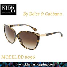 Tortoise shell acetate cat-eye frame. Metal and acetate arm with metallic designer logo. Brown lenses by Dolce & Gabbana  Available at www.khayashopping.com  #SunGlasses #OnlineShopping #Harare