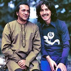 "Rare photo of Ravi Shankar and George Harrison. """