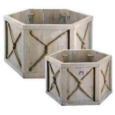 Wood S/2 Hex Planters by Candelabra Home.