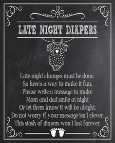 Printable Late Night Diapers Sign-Baby Shower by HappyFiestaDesign