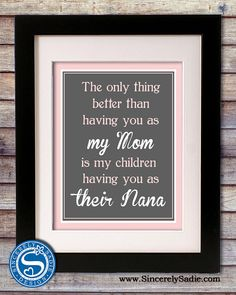 Grandparent 8x10 Print for Grandma, Nana, Grandmother - Mothers Day Sign, Grandparents Day, Mom Birthday Gift on Wanelo