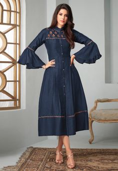 Largest selection of party wear kurti from popular indian online shops. Buy this fancy fabric embroidered work blue party wear kurti. Kurti Sleeves Design, Kurta Neck Design, Sleeves Designs For Dresses, Kurti Designs Party Wear, Kurta Designs, Blouse Designs, Denim Kurti Designs, Simple Kurti Designs, Fancy Kurti