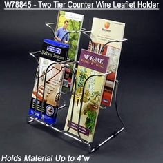 Main-4 1/4w x 7h x 1 1/4d (4) Pocket/(2) Tier Chrome Leaflet Literature Holder -  Wire/Counter