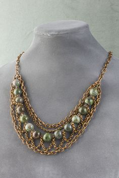 Copper Ore Jasper and Aluminum Chain Necklace - Cherry Tree Beads