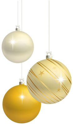White and Yellow Christmas Balls Decoration PNG Clipart Image