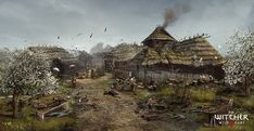 Video Game The Witcher Wild Hunt The Witcher Wallpaper The Witcher 3, Witcher 3 Art, Witcher 3 Wild Hunt, Fantasy Landscape, Landscape Art, Witcher Wallpaper, Asgard, Hunting Art, Art Village