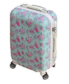 VINTAGE AQUA ROSE BLUE   PINK LARGE 28 SUITCASE LUGGAGE CASE HARD SHELL  FLORAL  Amazon.co.uk  Luggage 9d6ba059f58e0