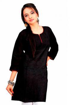 Plain Cotton Kurti in Black Colour