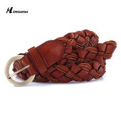 Hot Sale weave Genuine leather and Oil wax rope pin buckle Female Belt For Women decoration Dress coat cummerbunds Color full