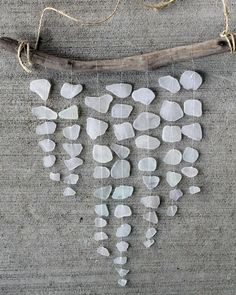 Sea Glass Mobile White Glass Driftwood by LakeMichiganBaubles -demo of craft to make