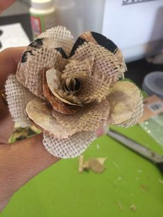 DIY Tapa and hessian fabric roses for chair sash decoration