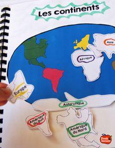 Idée à reprendre...  Apprendre les continents dans le cahier interactif de Géographie / Profs et Soeurs