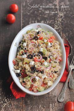 Salata greceasca cu quinoa, salata delicioasa si sanatoasa. Cum se fierbe quinoa, indicatii pas cu pas pentru o salata sanatoasa si plina de gust. Reteta de salata cu quinoa.