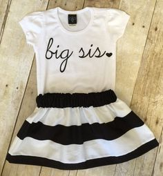 Girls big sis outfit  handmade clothing by by WillowBeeApparel