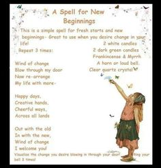 New Beginnings spell- With intent and your will, this catchy spell could be quite powerful!