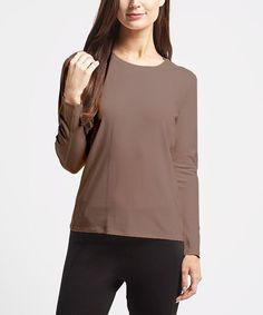Heather Caramel Knit Crewneck Tee
